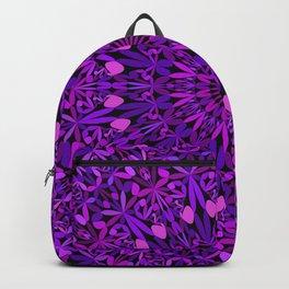 Purple Leaves Kaleidoscope Mandala Backpack