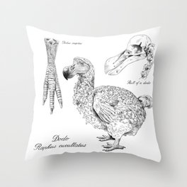 The last Dodo - scientific illustration Throw Pillow