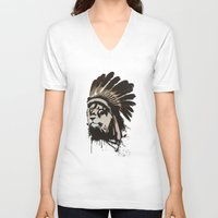 headdress V-neck T-shirts featuring Lion Headdress by Alyn Spiller
