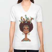 afro V-neck T-shirts featuring Afro Birds by Beatrice Roberti