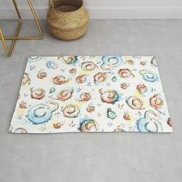 Elephants Pattern Watercolor Whimsical Animals Rug