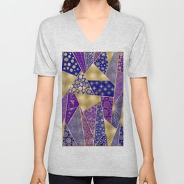 Purple & Golden Shimmer Tangle Unisex V-Neck