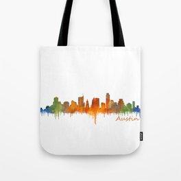 Austin Texas, City Skyline, watercolor  Cityscape Hq v2 Tote Bag