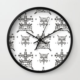 Baron Samedi Voodoo Veve Symbols in White Wall Clock