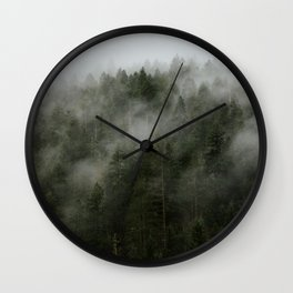 Pacific Northwest Foggy Forest Wall Clock