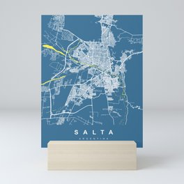 SALTA City Map | Argentina | Blue | More Colors, Review My Collections Mini Art Print