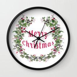 merry christmas flower wreath Wall Clock