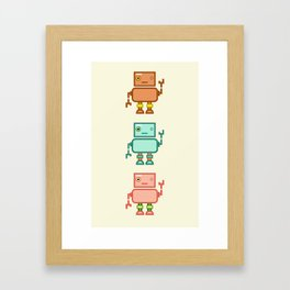 Three Waving Robots Framed Art Print