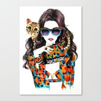 kenzo Canvas Prints featuring Kenzo Girl by Sunny Gu