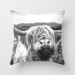 Highland Cow Nose Barbed Wire Fence Black and White Throw Pillow