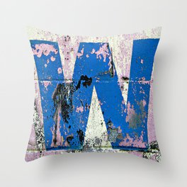 Blue W  Throw Pillow