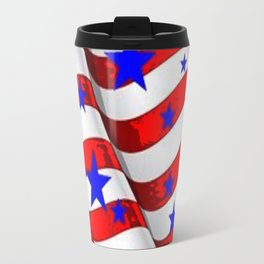 RED PATRIOTIC JULY 4TH BLUE STARS AMERICANA ART Travel Mug