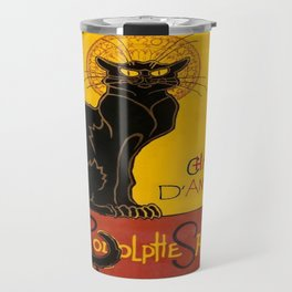 Le Chat D'Amour With Ethnic Coloured Border  Travel Mug