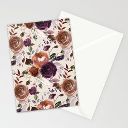 Vivid Plum and Orange Blossom with Feathers on Cream  Stationery Cards