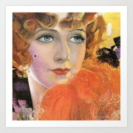 Retro Lady in Orange with a Smile Art Print