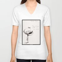 toilet V-neck T-shirts featuring Toilet Girl by artlandofme
