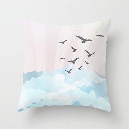 birds at the beach Throw Pillow