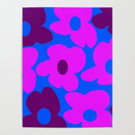 Large Pink and Purple Retro Flowers Blue Background #decor #society6 #buyart Poster