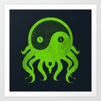 cthulu Art Prints featuring yin yang cthulu by frederic levy-hadida