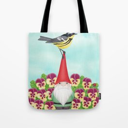 gnome with magnolia warbler and pansies Tote Bag