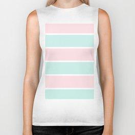 Blush pink teal modern color block pastel stripes Biker Tank