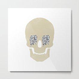 silver glitter skull Metal Print
