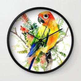 Sun Conure Parakeet Wall Clock