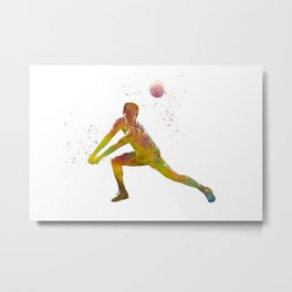 Volleyball player in watercolor Metal Print
