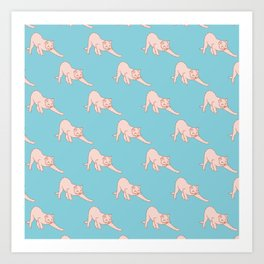 Cute Stretched Cat Pattern Art Print