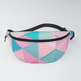 Teal and Peach Tiles and Triangles Pattern Fanny Pack