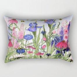 Colorful Garden Flower Acrylic Painting Rectangular Pillow