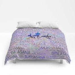 Yoga Asanas/Poses Sanskrit Word Art Comforters