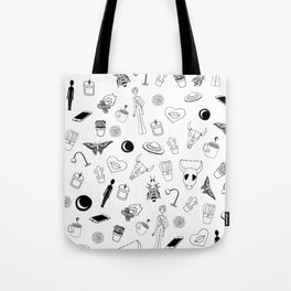 Black Eclectic Pattern Tote Bag