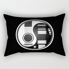 White and Black Acoustic Electric Yin Yang Guitars Rectangular Pillow