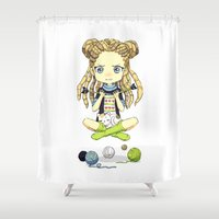 knitting Shower Curtains featuring Knitting Meditation by Freeminds