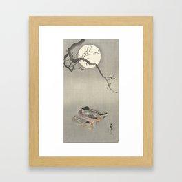 Ducks at full moon - Ohara Koson Framed Art Print