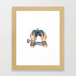 Hands tied by wire Framed Art Print