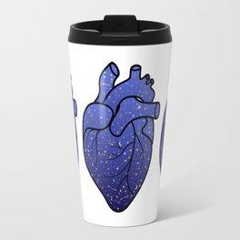 Space love / cosmic gold stars pattern on blue tattoo heart Travel Mug