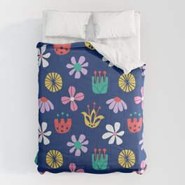 Nordic Floral in Mod Rainbow + Navy Blue Comforters