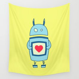 Cute Clumsy Robot With Heart Wall Tapestry