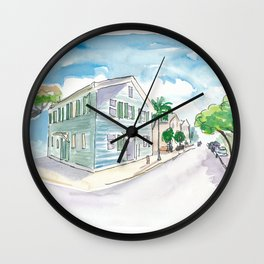 Mile 0 Marker Key West - Sunny Whitehead Street Wall Clock