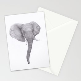 Elephant head Drawing Stationery Cards