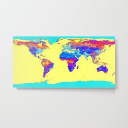 world mAP Colorful Metal Print
