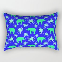 Wild African bright green little elephants, exotic tropical leaves whimsical cute blue pattern Rectangular Pillow