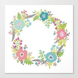 Floral fresh spring wreath Canvas Print
