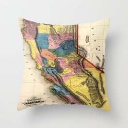 Vintage Map of Gold Regions in California (1851) Throw Pillow