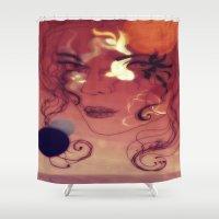 siren Shower Curtains featuring sunset siren by Erika