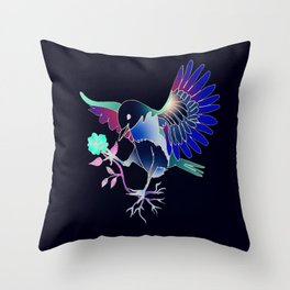 Flying with roses inverse Throw Pillow
