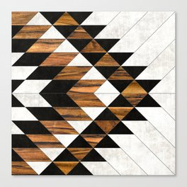Urban Tribal Pattern 9 - Aztec - Concrete and Wood Canvas Print