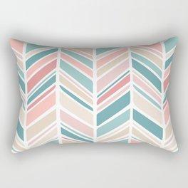 Herringbone Pattern - Cream Coral and Teal Rectangular Pillow